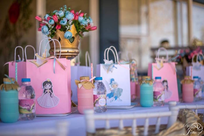 Royal Guest Table + Gift Bags from a Royal Princess & Knight Birthday Party on Kara's Party Ideas | KarasPartyIdeas.com (21)