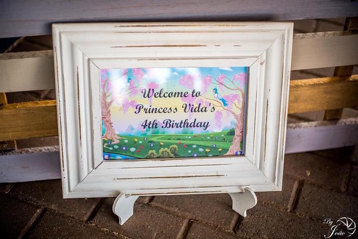 Welcome Signage from a Royal Princess & Knight Birthday Party on Kara's Party Ideas | KarasPartyIdeas.com (20)