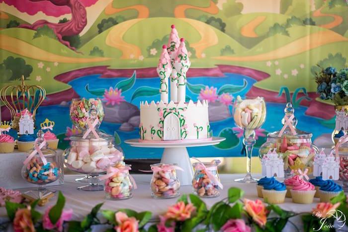Royal Themed Cake Table from a Royal Princess & Knight Birthday Party on Kara's Party Ideas | KarasPartyIdeas.com (16)