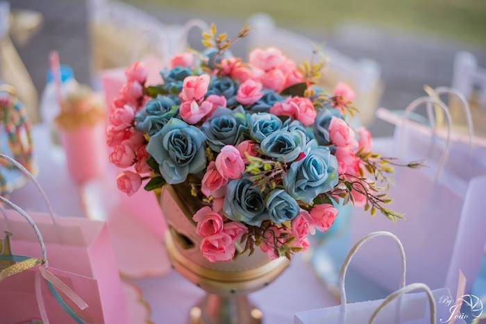 Pink & Bloom Floral Arrangement from a Royal Princess & Knight Birthday Party on Kara's Party Ideas | KarasPartyIdeas.com (15)