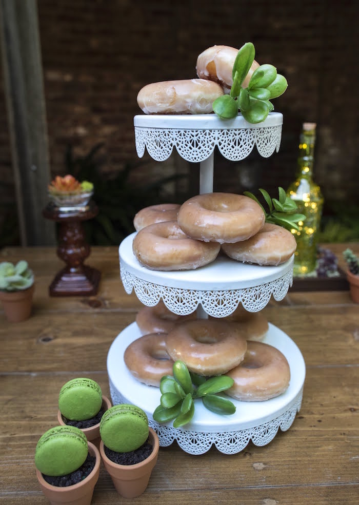 Doughnut Dessert Pedestal covered with Succulents from a Rustic Garden Birthday Party on Kara's Party Ideas | KarasPartyIdeas.com (18)