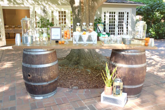 Barrel - Snack + Beverage Bar from a Rustic Garden Birthday Party on Kara's Party Ideas | KarasPartyIdeas.com (12)