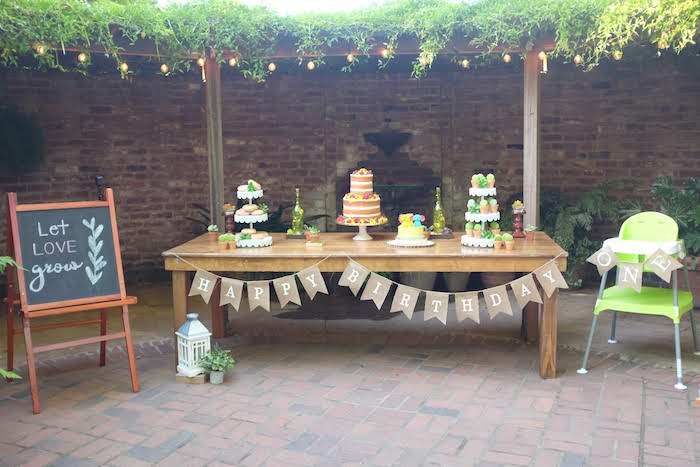 Garden Dessert Table from a Rustic Garden Birthday Party on Kara's Party Ideas | KarasPartyIdeas.com (10)