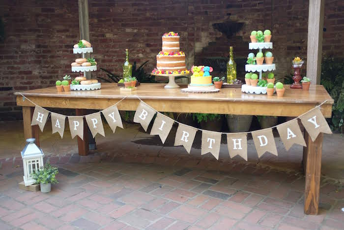 Rustic Garden Dessert Table from a Rustic Garden Birthday Party on Kara's Party Ideas | KarasPartyIdeas.com (9)
