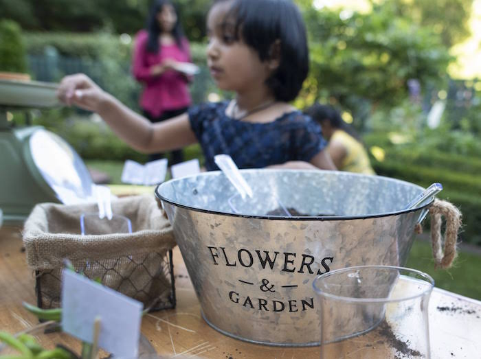 Galvanized Metal Bucket filled with Planting Soil from a Rustic Garden Birthday Party on Kara's Party Ideas | KarasPartyIdeas.com (7)