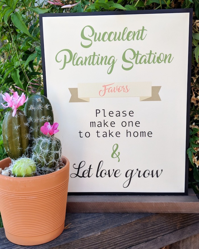 Succulent Planting Station Signage from a Rustic Garden Birthday Party on Kara's Party Ideas | KarasPartyIdeas.com (3)