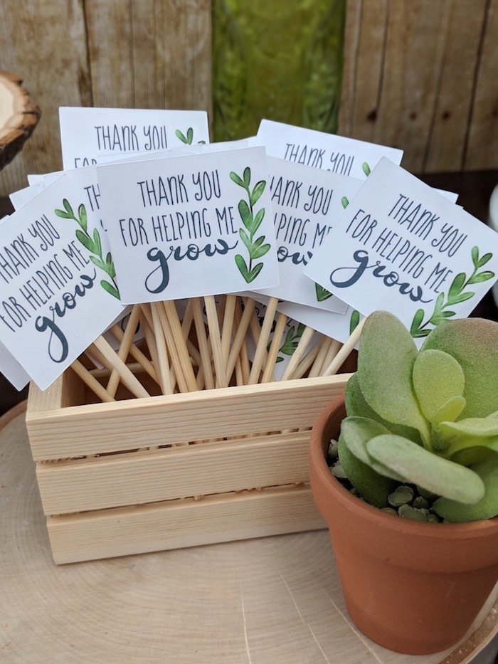 Thank You For Helping Me Grow - Favor Tag from a Rustic Garden Birthday Party on Kara's Party Ideas | KarasPartyIdeas.com (26)