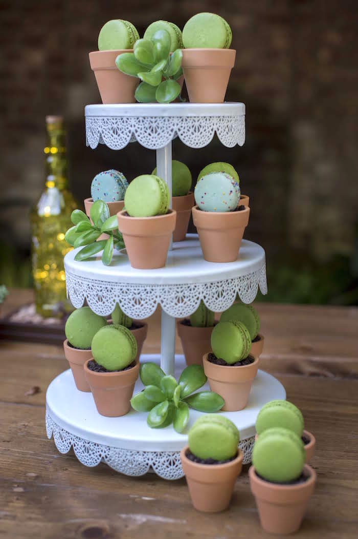 Terra Cotta Pudding Cups topped with Green Macarons from a Rustic Garden Birthday Party on Kara's Party Ideas | KarasPartyIdeas.com (21)