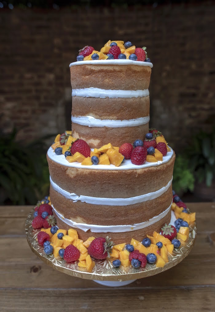 Fruit-topped Naked Cake from a Rustic Garden Birthday Party on Kara's Party Ideas | KarasPartyIdeas.com (20)