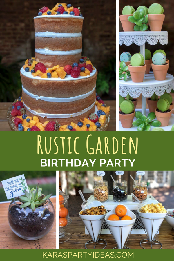 Rustic Garden Birthday Party via Kara's Party Ideas - KarasPartyIdeas.com