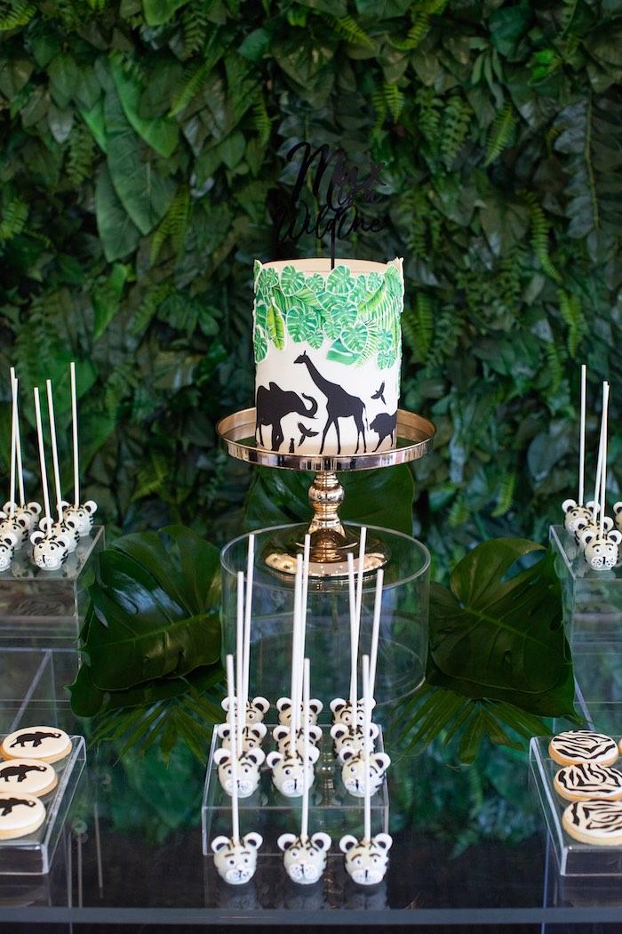 Safari Themed Cake Table from a Safari Wild One Birthday Party on Kara's Party Ideas | KarasPartyIdeas.com (18)