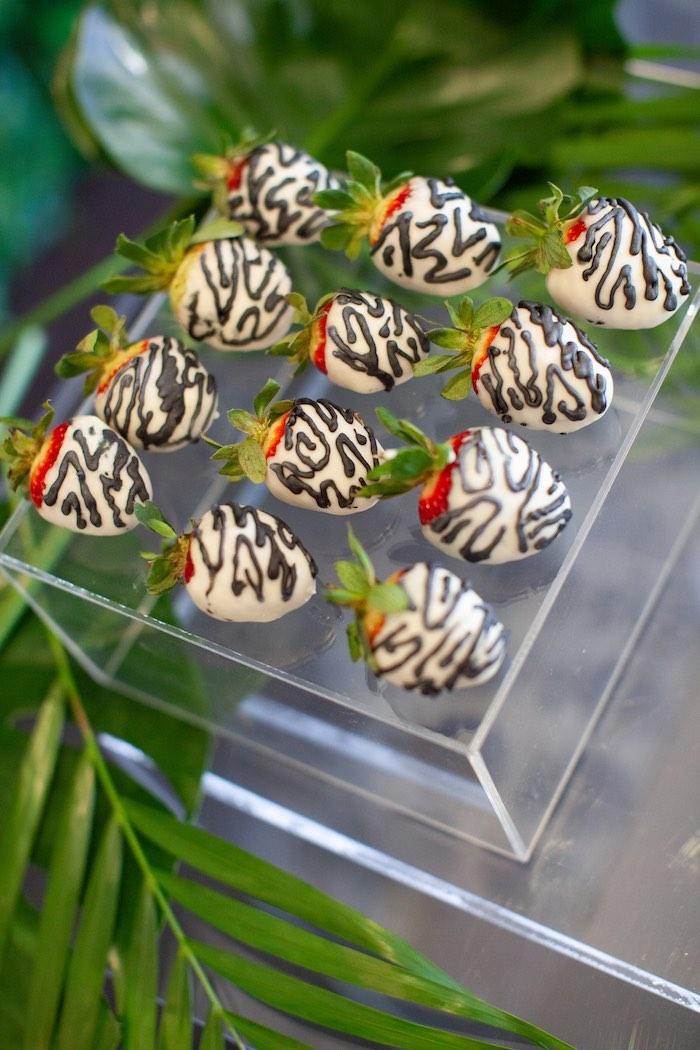 Zebra Strawberries from a Safari Wild One Birthday Party on Kara's Party Ideas | KarasPartyIdeas.com (16)