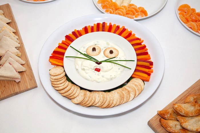 Lion-inspired Veggie + Cracker Plate from a Safari Wild One Birthday Party on Kara's Party Ideas | KarasPartyIdeas.com (14)