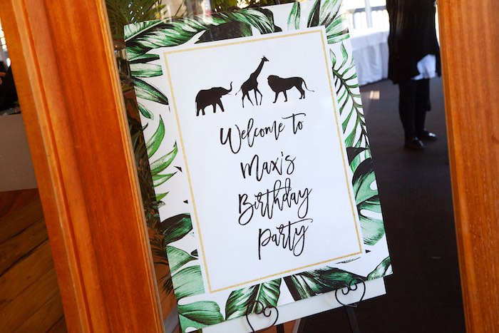 Safari Party Welcome Sign from a Safari Wild One Birthday Party on Kara's Party Ideas | KarasPartyIdeas.com (8)