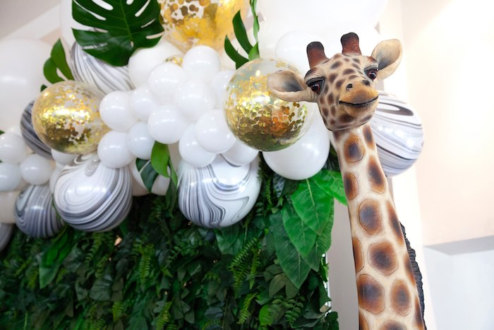Balloon Garland + Safari Backdrop from a Safari Wild One Birthday Party on Kara's Party Ideas | KarasPartyIdeas.com (27)