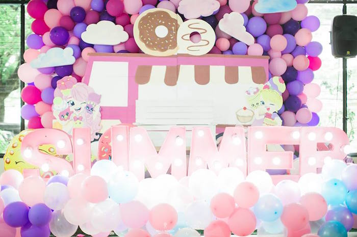 Shopkins Party Backdrop from a Shopkins Balloon Birthday Party on Kara's Party Ideas | KarasPartyIdeas.com (3)