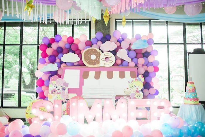 Shopkins Balloon Birthday Party Backdrop on Kara's Party Ideas | KarasPartyIdeas.com (5)