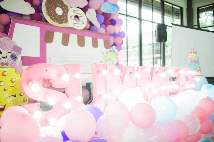 Marquee Letter Lights from a Shopkins Balloon Birthday Party on Kara's Party Ideas | KarasPartyIdeas.com (4)