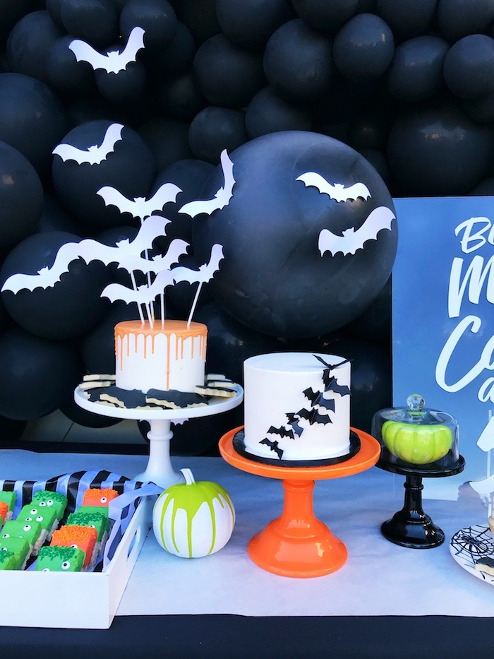 Halloween Bat Cakes from a Spooky Halloween Birthday Party on Kara's Party Ideas | KarasPartyIdeas.com (5)