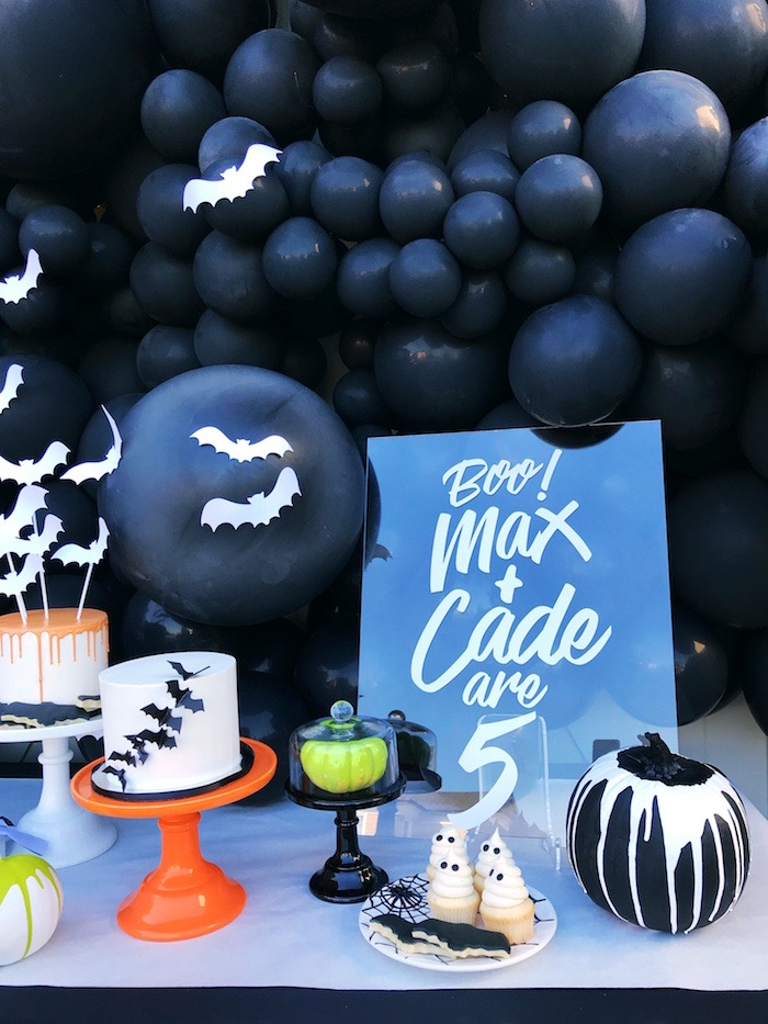 Bat Themed Party Table from a Spooky Halloween Birthday Party on Kara's Party Ideas | KarasPartyIdeas.com (17)