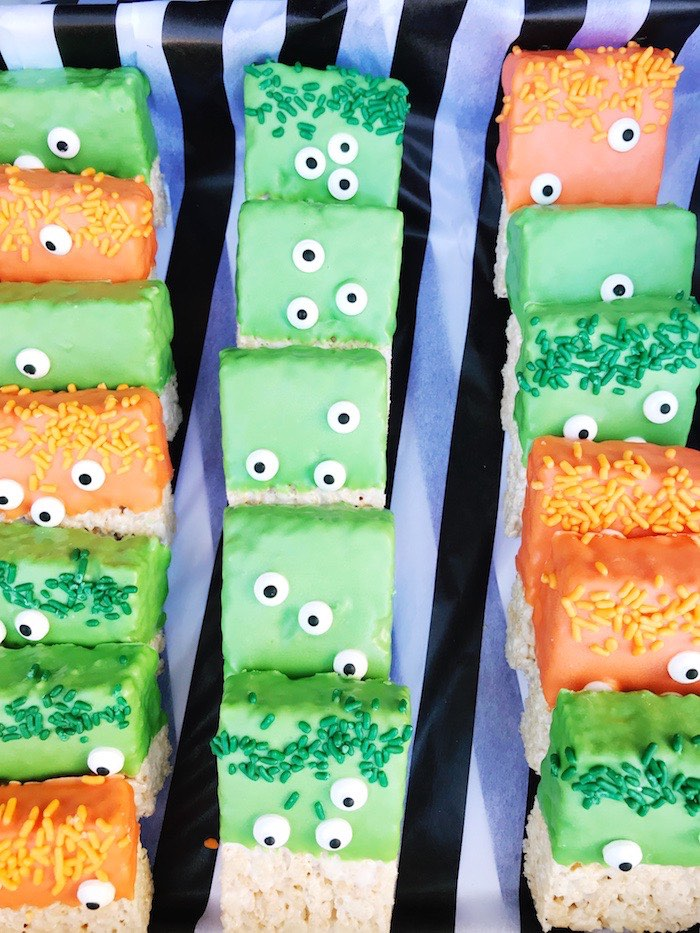 Googly-eyed Monster Crispy Treats from a Spooky Halloween Birthday Party on Kara's Party Ideas | KarasPartyIdeas.com (11)