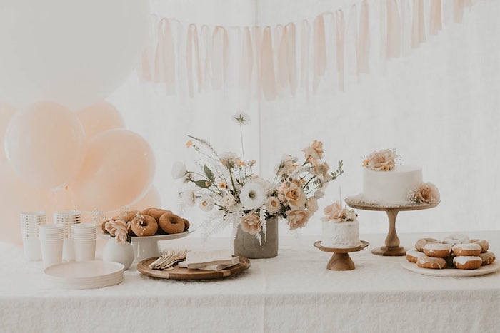 Neutral-colored Dessert Table from a Sweet Vintage 1st Birthday Party on Kara's Party Ideas | KarasPartyIdeas.com (19)