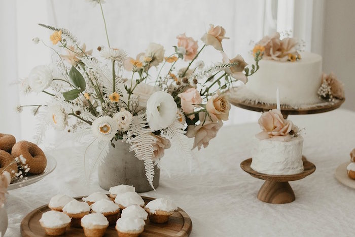 Neutral-colored Floral Arrangement from a Sweet Vintage 1st Birthday Party on Kara's Party Ideas | KarasPartyIdeas.com (16)