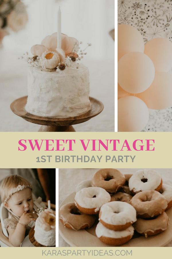 Sweet Vintage 1st Birthday Party via Kara's Party Ideas - KarasPartyIdeas.com
