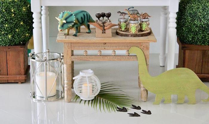 Dinosaur Sweet + Party Table from a Three-Rex Dinosaur Birthday Party on Kara's Party Ideas | KarasPartyIdeas.com (15)