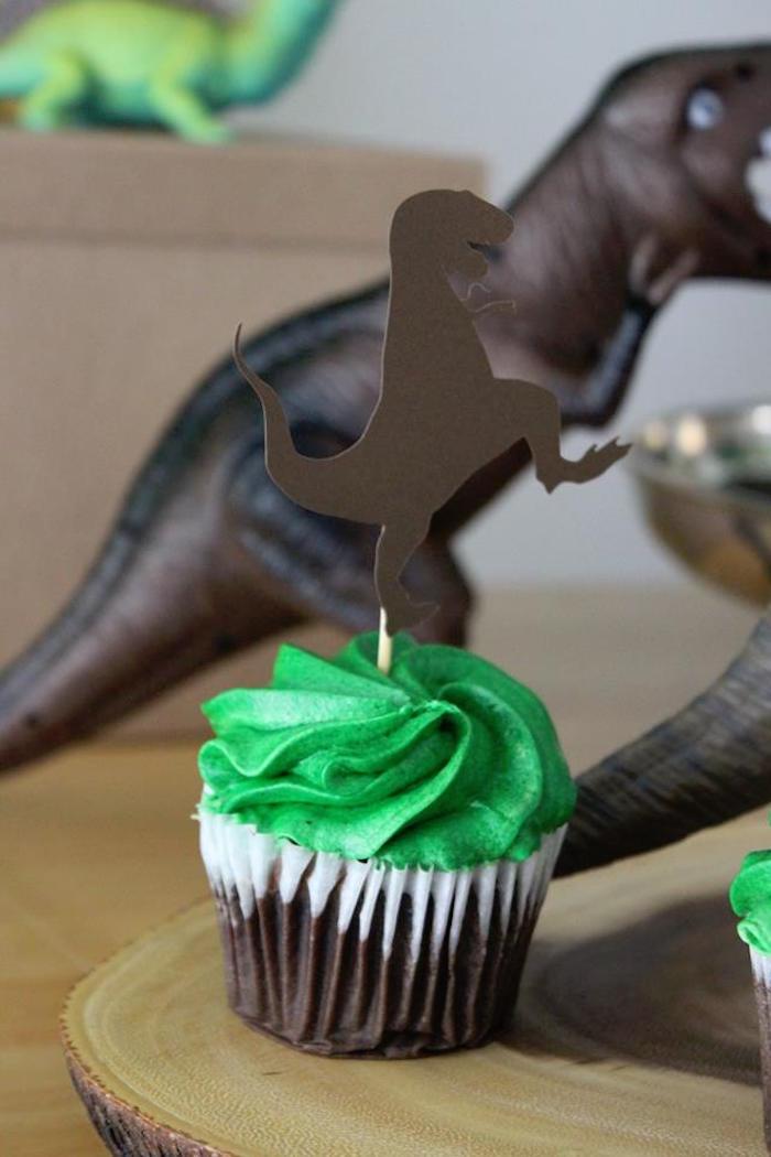 T-Rex Cupcake from a Three-Rex Dinosaur Birthday Party on Kara's Party Ideas | KarasPartyIdeas.com (12)