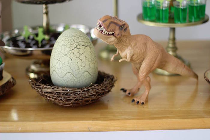 T-Rex Nest from a Three-Rex Dinosaur Birthday Party on Kara's Party Ideas | KarasPartyIdeas.com (11)