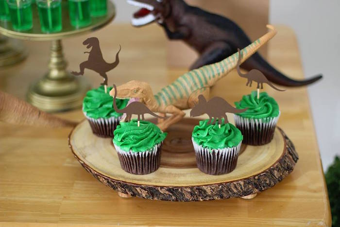 Dinosaur Cupcakes from a Three-Rex Dinosaur Birthday Party on Kara's Party Ideas | KarasPartyIdeas.com (10)