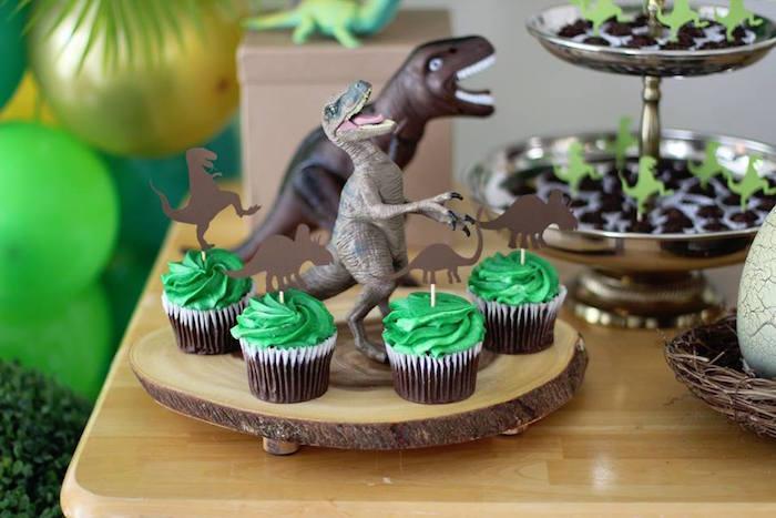 Dinosaur Cupcakes from a Three-Rex Dinosaur Birthday Party on Kara's Party Ideas | KarasPartyIdeas.com (9)