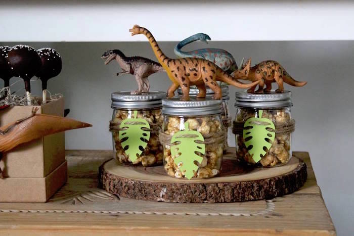 Dinosaur Snack Jars from a Three-Rex Dinosaur Birthday Party on Kara's Party Ideas | KarasPartyIdeas.com (8)