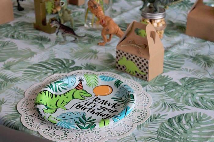 T-Rex Plate + Table Setting from a Three-Rex Dinosaur Birthday Party on Kara's Party Ideas | KarasPartyIdeas.com (27)