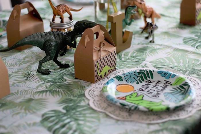 Dino Themed Table Setting from a Three-Rex Dinosaur Birthday Party on Kara's Party Ideas | KarasPartyIdeas.com (25)