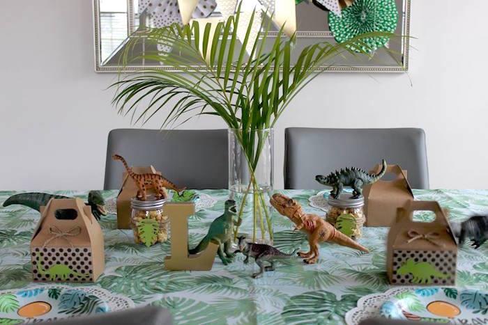 Dino Themed Guest Table from a Three-Rex Dinosaur Birthday Party on Kara's Party Ideas | KarasPartyIdeas.com (24)