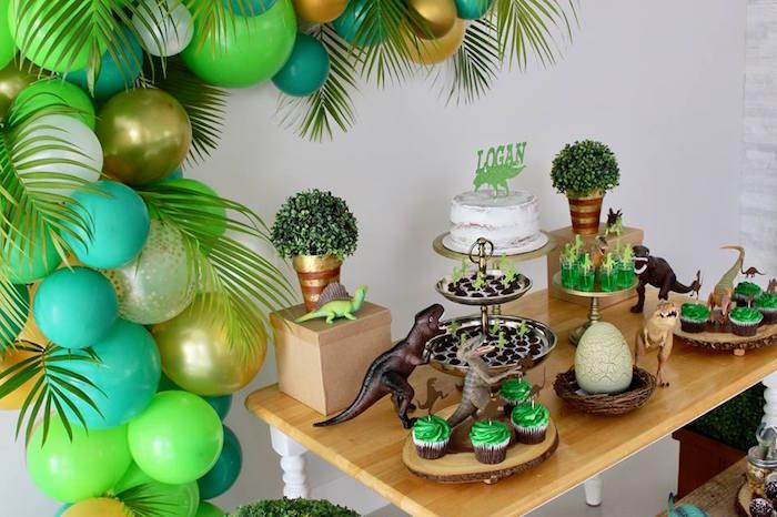 Dinosaur Dessert Table Detail from a Three-Rex Dinosaur Birthday Party on Kara's Party Ideas | KarasPartyIdeas.com (23)