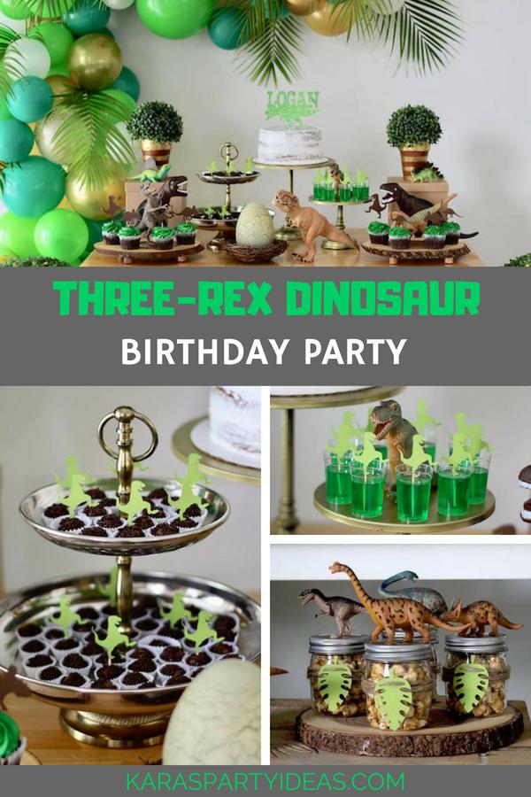 Three-Rex Dinosaur Birthday Party via Kara's Party Ideas - KarasPartyIdeas.com