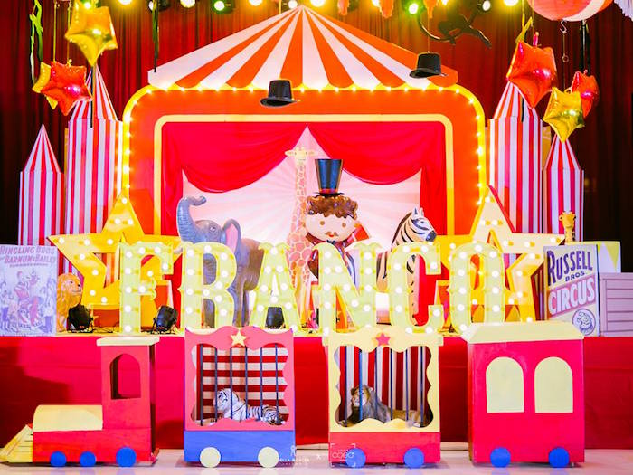 Circus Train + Tent Backdrop from a Traditional Circus Birthday Party on Kara's Party Ideas | KarasPartyIdeas.com (21)