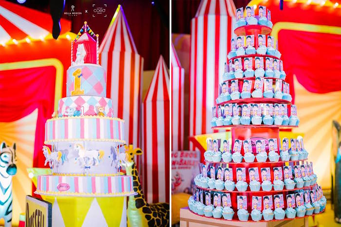 Towering Circus Cake + Cupcakes from a Traditional Circus Birthday Party on Kara's Party Ideas | KarasPartyIdeas.com (19)