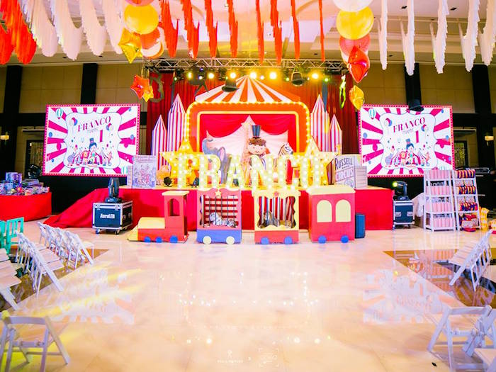 Circus Animal Train Backdrop from a Traditional Circus Birthday Party on Kara's Party Ideas | KarasPartyIdeas.com (15)