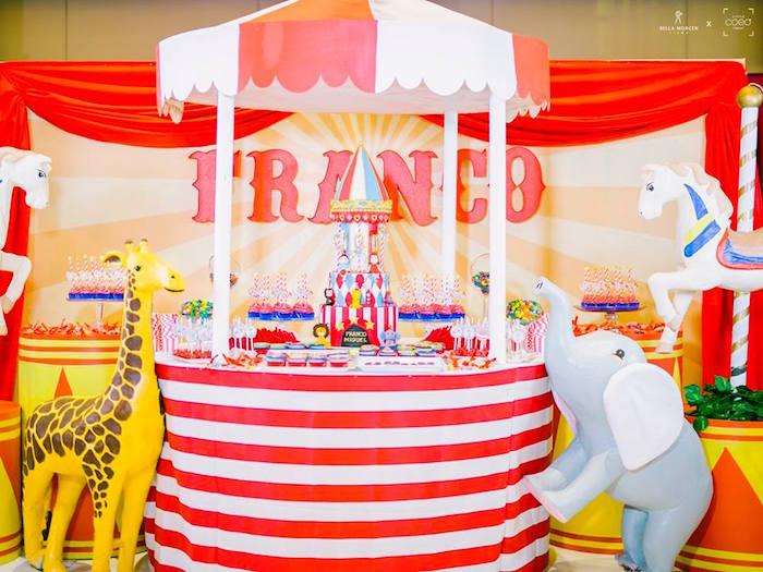 Circus Tent Dessert Table from a Traditional Circus Birthday Party on Kara's Party Ideas | KarasPartyIdeas.com (14)