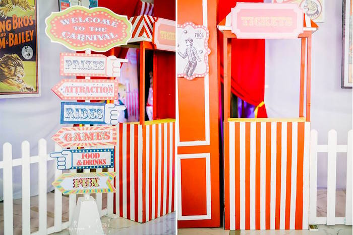 Circus Party Signage + Booths from a Traditional Circus Birthday Party on Kara's Party Ideas | KarasPartyIdeas.com (10)