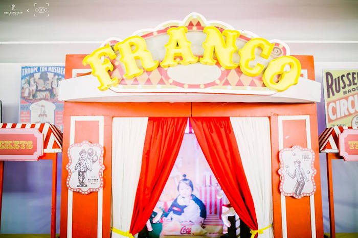 Circus Tent Arch + Entrance from a Traditional Circus Birthday Party on Kara's Party Ideas | KarasPartyIdeas.com (9)