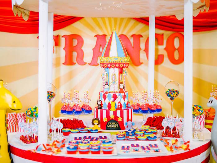 Circus Themed Dessert Table from a Traditional Circus Birthday Party on Kara's Party Ideas | KarasPartyIdeas.com (8)