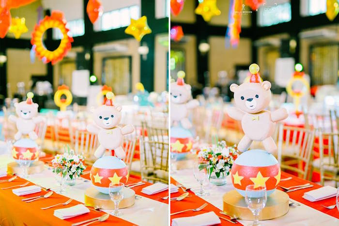 Circus Bear Table Centerpiece from a Traditional Circus Birthday Party on Kara's Party Ideas | KarasPartyIdeas.com (6)