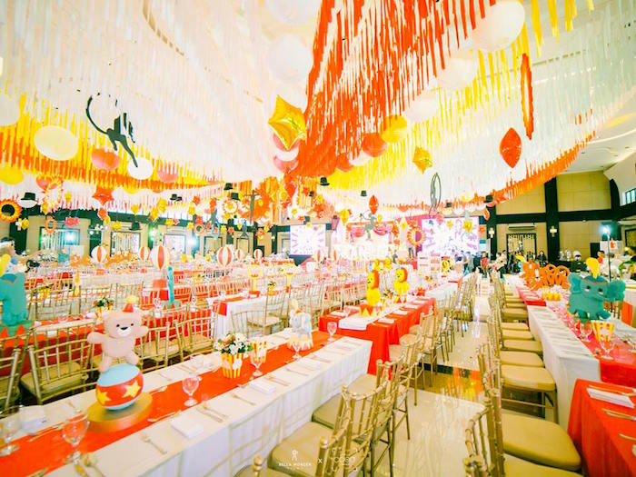 Circus-inspired Guest Tables from a Traditional Circus Birthday Party on Kara's Party Ideas | KarasPartyIdeas.com (5)