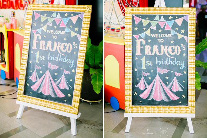 Circus-inspired Chalkboard Welcome Easel from a Traditional Circus Birthday Party on Kara's Party Ideas | KarasPartyIdeas.com (4)