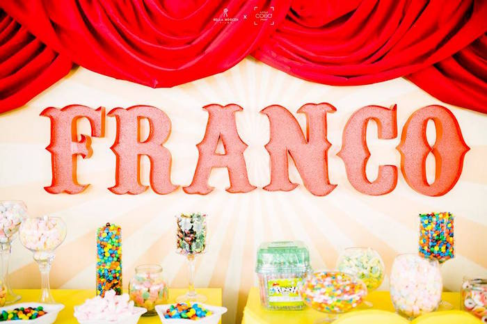 Circus-inspired Candy Buffet from a Traditional Circus Birthday Party on Kara's Party Ideas | KarasPartyIdeas.com (25)